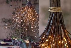 How-To: A Woodland Chandelier from twig lights (love this! glad I still have my twig lights) Diy Luz, Luminaria Diy, Twig Lights, Star Lights, Lighted Branches, Fairy Lights, Tree Branches, Branch Chandelier, Chandeliers
