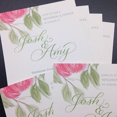 Watercolor floral and pointed pen script in luscious pink and fresh green for a rehearsal dinner in a garden setting. Fresh Green, Rehearsal Dinners, Floral Watercolor, Script, Bloom, Calligraphy, Lettering, Garden, Pink