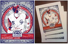 Carlos Gonzalez of the Colorado Rockies. Hand made screen print,  limited edition of 200. Signed, dated and individually numbered. Officially licensed by Major League Baseball. Art by Chris Speakman. $50