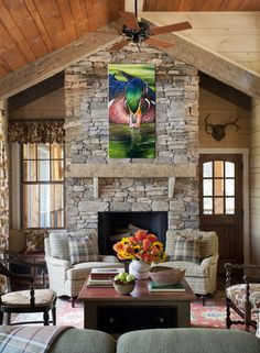 Tuscan style – Mediterranean Home Decor Fireplace Mantle, Living Room With Fireplace, Fireplace Design, Fireplace Ideas, Rock Fireplaces, Rustic Fireplaces, Little Cabin, Tuscan Style, Great Rooms