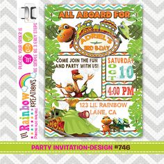 746: DIY - Dinosaur Train Inspired Party Invitation Or Thank You Card