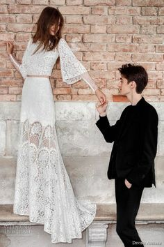 Long Sleeve Wedding Dress divine atelier 2017 bridal long bell sleeves full embellishment lace embroidered crop tp lace skirt bohemian romantic modified a line wedding dress sweep train mv Long Sleeve Wedding, Wedding Dress Sleeves, Boho Wedding Dress, Wedding Gowns, Wedding Reception, Bridal Outfits, Bridal Dresses, 2017 Bridal, 2017 Wedding
