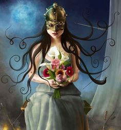 Lady in mask with bouquet illustration via www.Facebook.com/GleamofDreams