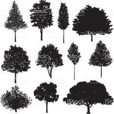 Juego de árbol de dibujos vector de stock libre de derechos