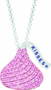 pink cz solitaire necklace | Sterling Silver & Pink CZ Hershey's Kiss Pendant - Sterling Silver ...