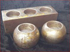 Teelichthalter Keramik silber/gold  8cm Preis: 2,99 € Teelichthalter Keramik silber/gold  6x20x7cm Preis: 4,99 €