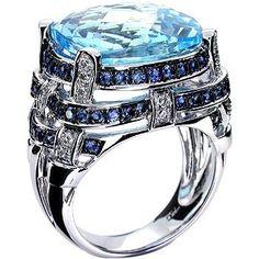 18k White Gold Blue Topaz & Blue Sapphire Ring