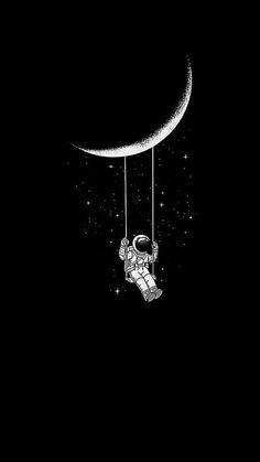 moon swing Wallpaper by susbulut - 72 - Free on ZEDGE™ Black Aesthetic Wallpaper, Aesthetic Backgrounds, Black Wallpaper, Aesthetic Iphone Wallpaper, Aesthetic Wallpapers, Aesthetic Stickers, Mi Wallpaper, Dark Background Wallpaper, Mobile Wallpaper