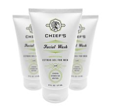 Branding and packaging for Chief's Skincare for Men.