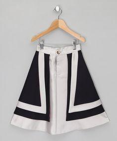 Navy & Silver A-Line Skirt - Girls