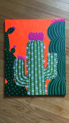 Beginners learn to paint acrylic aurora borealis landscape cactus painting acrylic painting cactus decor painting . Cute Canvas Paintings, Easy Canvas Painting, Diy Canvas Art, Small Canvas, Easy Paintings, Diy Painting, Mexican Paintings, Canvas Canvas, Canvas Ideas