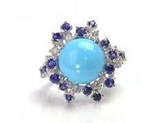 7.68 ct Turquoise & 2.22 ctw Sapphire & diamond 14K White Gold Ring