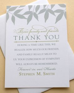 Sympathy Acknowledgement Cards Funeral Thank You Cards Custom