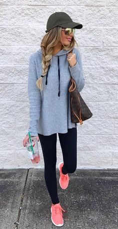 Braided tanned caramelette in concrete hoodie, olive cap, lime chrome aviator shades, black leggings, coral sneakers w/ matching lips #workoutoutfits