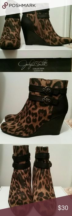 Jaclyn Smith Leopard Print Booties These leopard print microsuede booties would look great paired with a matching leopard print blouse and black pants. Or use them as a statement piece when wearing a black outfit.  Added Bonuses: Nearly new condition (was only worn once). Shoe box will also be included.  More Features: Side zip closure 3-3/4 in. wedge heel  Buckle strap details Knit lining  Almond toe Jaclyn Smith Shoes Ankle Boots & Booties