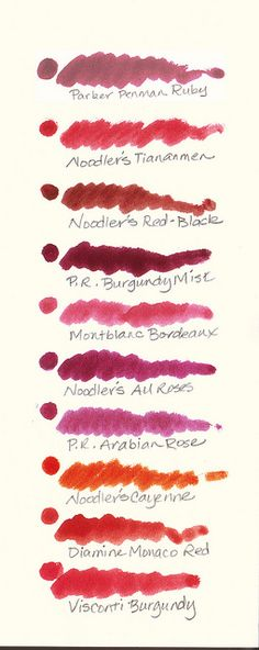 Burgundy Fountain Pen Ink Comparison by inkophile, via Flickr