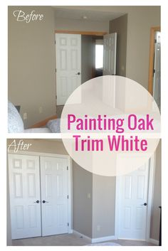How to paint oak trim Home Renovation, Home Remodeling, Kitchen Renovations, Painting Wood Trim, Painting Trim Tips, Painting Door Frames, Painting Baseboards, House Painting, Honey Oak Trim