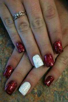 Xmas manicure idea - Red/White Glitter