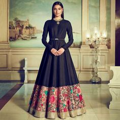 Black georgette indo western gown with floral colourful thread embroidery designer black Indian dress evening wear with embroidered border Indian Gowns Dresses, Indian Outfits, Party Wear Indian Dresses, Pakistani Dresses, Designer Gowns, Indian Designer Wear, Style Marocain, Anarkali Gown, Sabyasachi Gown