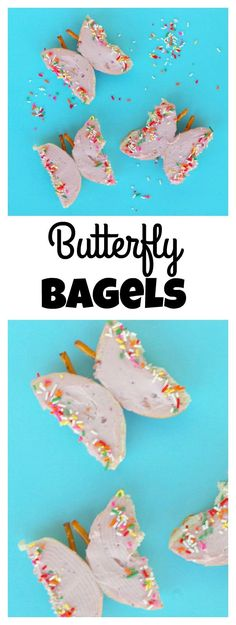 Butterfly bagels are a pretty and easy snack for kids. Take plain bagels and add a few decorations to turn them into cute butterflies! Butterfly Snacks, Butterfly Party, Butterfly Project, Butterfly Kids, Pink Butterfly, Preschool Cooking, Preschool Snacks, Classroom Snacks, Preschool Learning