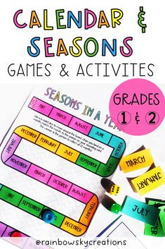 This Telling Time hands-on pack is designed to provide Grade 1 and Grade 2 students with fun, hands-on, differentiated activities for learning to tell the time (including o'clock, half past, quarter past and quarter to). As well as, ordering the months of the year, identifying how many days in each month, identifying the seasons and which months they correlate plus reading and creating a calendar. #rainbowskycreations Seasons Activities, Math Activities, Days In Each Month, Create A Calendar, Calendar Activities, Professional Development For Teachers, Primary Maths, Teaching Math, Teaching Ideas