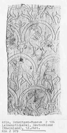 whitework-annimals.jpg, Jan 2013  12th C Germanic embroidery - chain stitch.