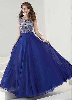 Buy discount Pretty Chiffon Scoop Neckline A-Line Prom Dresses With Beads & Rhinestones at Dressilyme.com