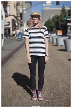 black white striped shirt, black jeans @roressclothes closet ideas #women fashion outfit #clothing style apparel