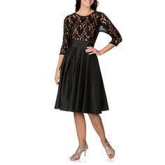 S.L. Fashions Women's Lace Illusion Fit-and-Flare Dress - Overstock™ Shopping - Top Rated S.L. Fashions Evening & Formal Dresses