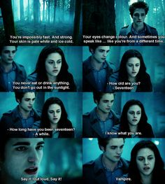 """""""I know what you are."""" -Bella """"Say it out loud"""" -Edward """"Vampire"""" -Bella Edward * Damm she knows*"""