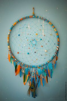 Orange turquoise Dreamcatcher, cm, Dream Catcher Large Dreamcatcher, New Dream сatcher, dreamcatcher boho dreamcatchers - DIY Geschenke 2019 Dream Catcher Craft, Large Dream Catcher, Dream Catcher Mobile, Homemade Dream Catchers, Making Dream Catchers, Dream Catcher Patterns, Los Dreamcatchers, Diy And Crafts, Arts And Crafts