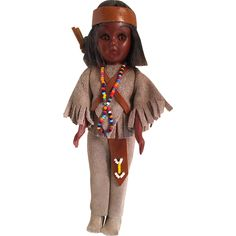 Vintage 1960s Carlson Native American Indian Doll -- found at www.rubylane.com #thedollworldshome