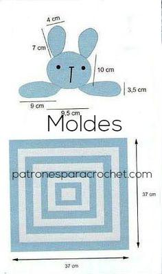 Moldes de manta de apego crochet con diseño de conejo