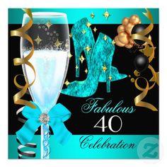 40 Fabulous Teal Blue Gold 40th Birthday Party Personalized Invite invitations Birthday invitations by zizzago.com