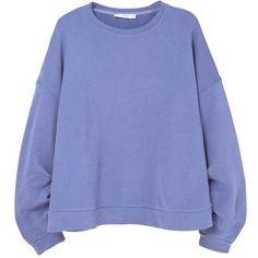 MANGO Oversize cotton sweatshirt (€41) ❤ liked on Polyvore featuring tops, hoodies, sweatshirts, blue top, round neck sweatshirt, drapey tops, oversized tops and oversized sweatshirt