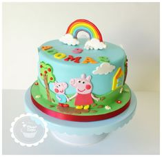 Loved doing this one Peppa Pig and George for Adomas who celebrated his Birthday Yesterday. 8 inch Strawberry and cream cake covered with buttercream and fondant.