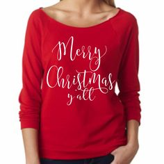 SALE Merry Christmas Y'all 3/4 sleeve terry raw edge top, Holiday Top, Christmas Party Top, Holiday Sweatshirt by ShopatBash on Etsy