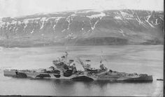 14 in battleship HMS Duke of York, victor over Scharnhorst at the Battle of North Cape in December 1943, pictured earlier that year off Iceland.