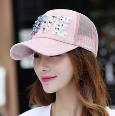 Love sequins baseball cap for teenage girls UV protection trucker caps