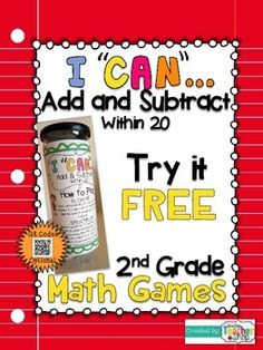"""These """"I CAN"""" Math games- 2nd grade Common Core Math Standards focusing on Adding & Subtracting within 20"""