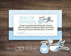 Instant Download Spanish Blue Stork Baby Shower Games for Boy, Spanish Diaper Raffle, Spanish Boy Baby Shower, Rifa de Pañales Cards 50Asp by Studio20Designs, $2.75