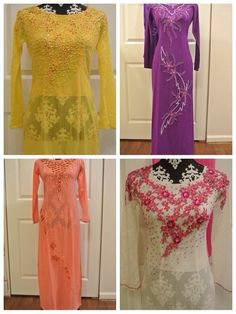 Vietnamese Traditional Ao Dai Rainbow in Clothing, Shoes & Accessories   eBay