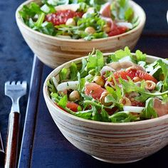 Arugula and hazelnut saladOur light grapefruit and greens salad makes for a refreshing, but not overly filling, pause between the appetizer and main course.