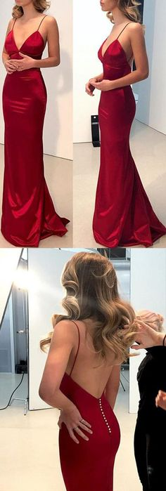 Simple Dark Red Mermaid Backless Long Prom Dresses, Formal Dress, M238 #Prom #Partydresses #Promdresses #Eveningdresses #Formaldresses #Gowns #Simidress