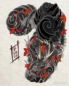Oni Tattoo, Daruma Doll Tattoo, Irezumi Tattoos, Japanese Cloud Tattoo, Japanese Wave Tattoos, Japanese Dragon Tattoos, Japanese Tattoo Designs, Dragon Tattoo Patterns, Dragon Tattoo Designs