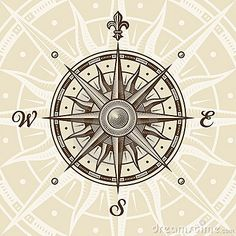 Vintage compass rose in woodcut style. Vector illustration with clipping mask.