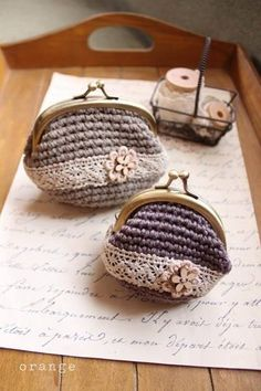 crochet coin purse with crocheted lace insert