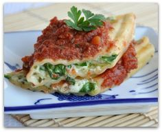Pesto Veggie Manicotti, either brontosaurus-style (vegetarian) or t-rex (with meat) hehe