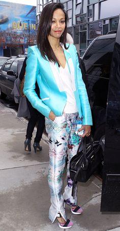 Metallic shades of blue. Zoe #Saldana sat from row at Prabal Gurung's fall 2012 fashion show