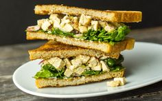 Chicken Lime Caesar Sandwich - This concoction takes a cue from Caesar salad, with an anchovy-lime dressing for chicken and toasted sourdough bread standing in for croutons. Gf Recipes, Cooking Recipes, Chicken Sandwhich, Lime Dressing, Piece Of Bread, Salad Sandwich, Lime Chicken, Caesar Salad, Wrap Sandwiches